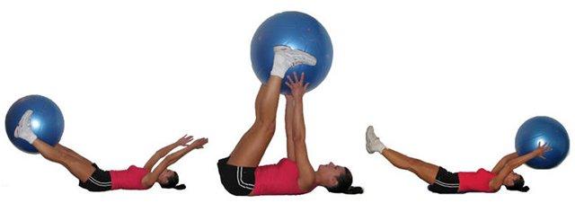 Комплекс упражнений на фитболе (передача мяча из ног в руки)