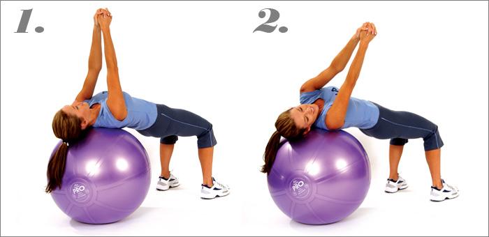 Комплекс упражнений на фитболе (повороты туловища)