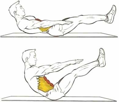 Одновр. скручивание корпуса и подтягивание ног 5