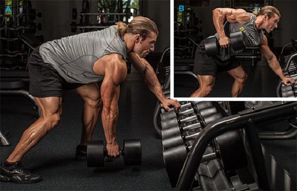 Как правильно делать тягу гантели в наклоне?